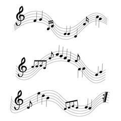 3 different music notes