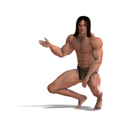 the apeman out of the jungle. 3D rendering with clipping path an