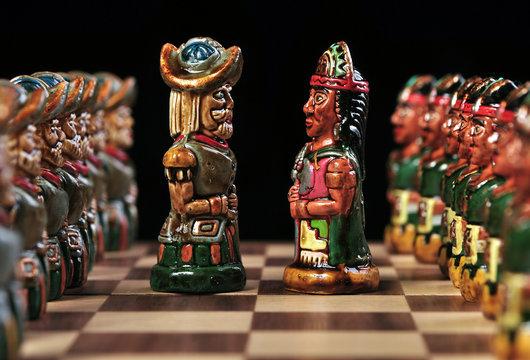 Bishops from an ecuadorian chess set between Incas & Spaniards
