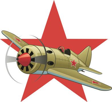 Soviet WW2 airplane on the red star background