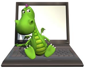 baby dragon green  on laptop dubious