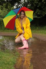 Frau in Regenjacke und Gummistiefel mit Schirm