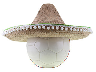 football with sombrero isolated on white background