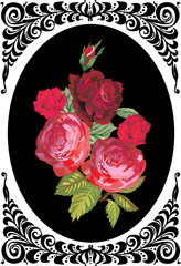red roses in black curled frame