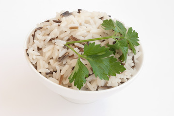 Bowl with boiled rice