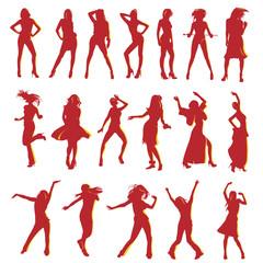 vector silhouetten dancing girls