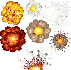 Explosions -set of vector illustrations