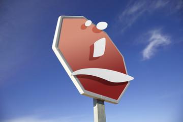 Sad road sign