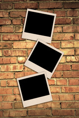 brick wall and polaroid like photos