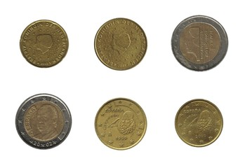 euro coins, Netherlands and Spain