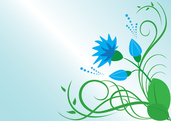 vector floral illustration with blue flower