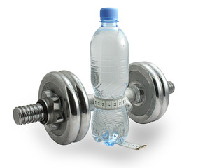 bottle of water with a measuring tape around it and dumbbell