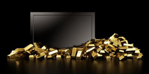 Tv with gold bars