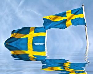 Drapeaux suédois avec reflet