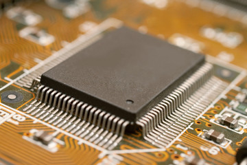 Closeup of computer motherboard with micro processor