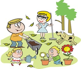 Famly gardening cartoon