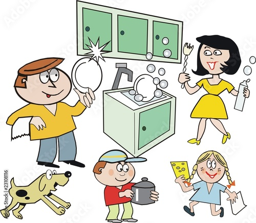 """People Cleaning Kitchen: """"Family Kitchen Cartoon"""" Stock Image And Royalty-free"""