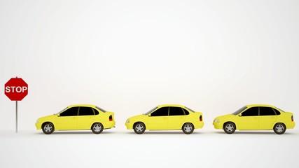 3 gelbe autos