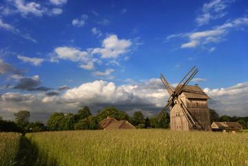 Foto op Canvas Molens windmill at sunset