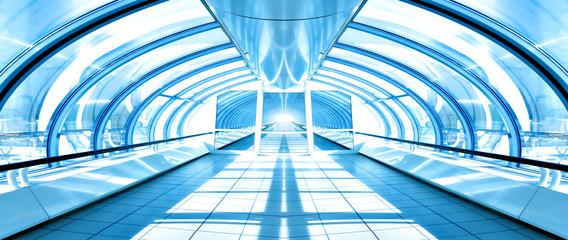 futuristic corridor in airport