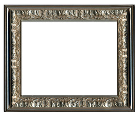 wooden old-looking frame with golden-silver ornament