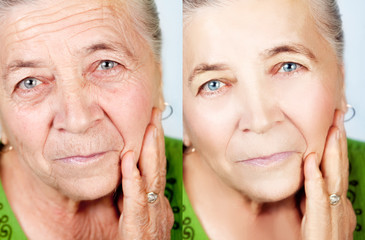 Beauty and aging skin care concept of old woman without wrinkles