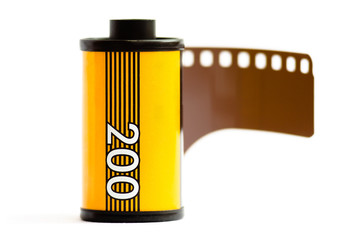 35mm camera film on white background