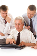 businessmen working  on a white