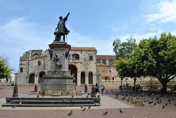 Columbus statue and cathedral, santo domingo, dominican republic