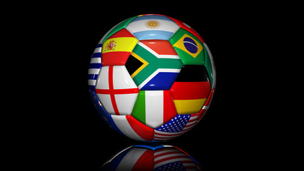 soccer ball with flags of countries in world cup 2010