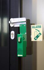 Flucht-Tür mit Glaseinsatz und Alarm