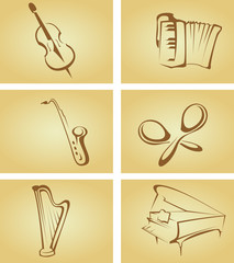 Vintage cards with musical instruments