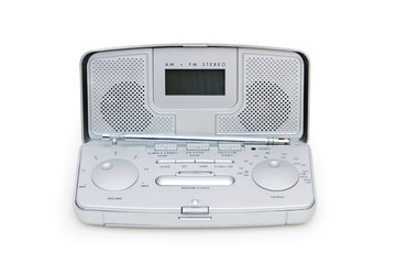 Silver radio isolated on the white background