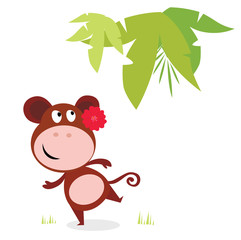 Exotic cute dancing monkey with red flower and palm leaf