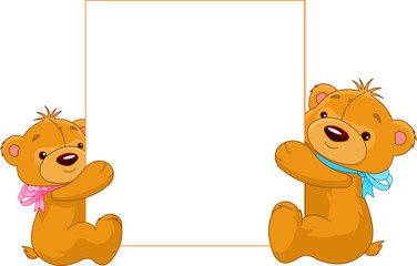 Canvas Prints Fairytale World Two Bears holding a blank sign