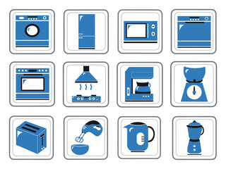 Assorted kitchen appliances icons in a vector illustration