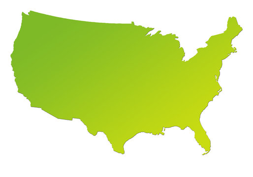 Gradient green map of America