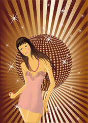 Beautiful girl on the disco background. Vector illustration.