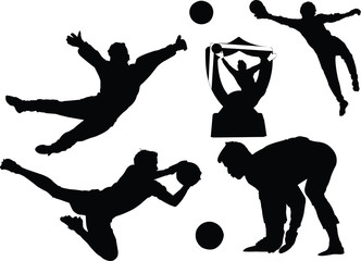 Goal keeper silhouettes vector illustration