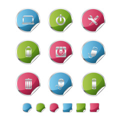 computer metallic sticker icons