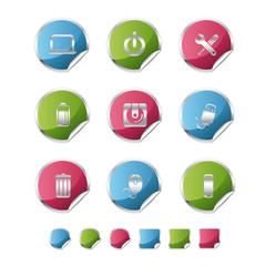 computer metallic sticker icons