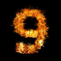 Flame in shape of figure nine