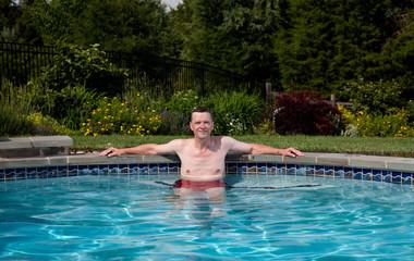 Senior male in pool