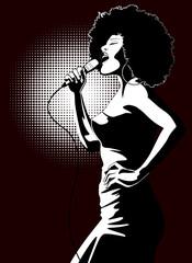 Canvas Prints Art Studio jazz singer on black background