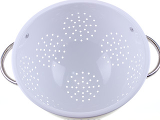 white colander, close up, isolated on white background