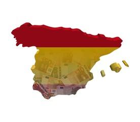 Spain Map flag with Euros 3d render illustration