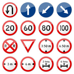 Road Sign Glossy Vector (Set 7 of 8)
