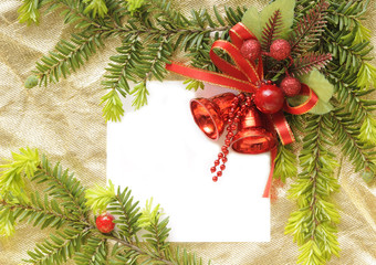 Christmas card with space and christmas ornament