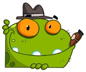 Mobster Frog Cartoon Character