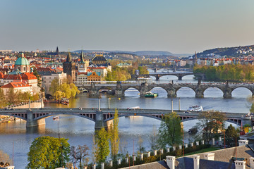 Aluminium Prints Prague View on Prague Bridges at sunset